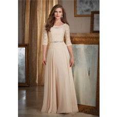 Bateau Neckline Long Champagne Chiffon Lace Mother Of The Bride Evening Dress With Sleeves