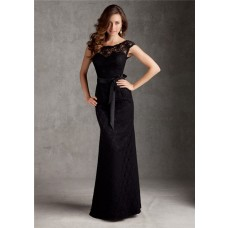 Bateau Neckline Low V Back Long Black Lace Wedding Guest Bridesmaid Dress With Buttons