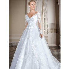 Beautiful Ball Gown Scalloped Neckline Long Sleeve Lace Wedding Dress With Belt