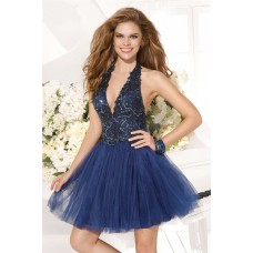 Beautiful Halter Mini Navy Tulle Beaded Cocktail Prom Dress