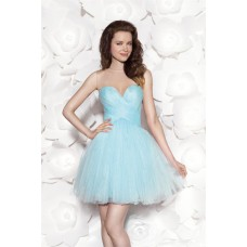 Beautiful Illusion Neckline Mini Light Blue Tulle Cocktail Prom Dress With Bows