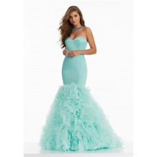 Beautiful Mermaid Sweetheart Corset Aqua Satin Organza Ruffle Prom Dress