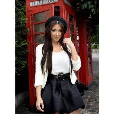 Casual Short/ Mini Kim Kardashian White Black Suit