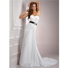 Casual Simple A Line Sweetheart Chiffon Wedding Dress With Black Sash Crystal