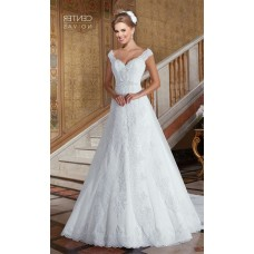 Charming A Line Off The Shoulder Tulle Lace Beaded Wedding Dress