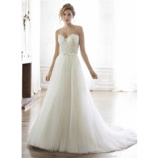 Charming A Line Strapless Tulle Lace Beaded Wedding Dress With Sash