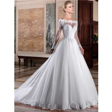 Charming Ball Gown Off The Shoulder Long Sleeve Lace Tulle Glitter Wedding Dress