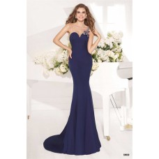 Charming Illusion Neckline Navy Blue Satin Beaded Evening Prom Dress With Bow