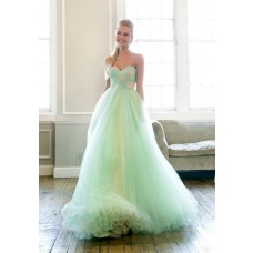 Charming Princess A Line Sweetheart Long Mint Green Lace Tulle Prom Dress