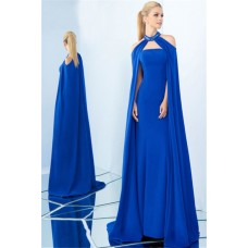 Charming Strapless Royal Blue Satin Evening Prom Dress Detachable Cape