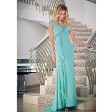 Charming V Neck Cap Sleeve Turquoise Chiffon Ruffle Beaded Mother Of The Bride Evening Dress