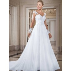 Charming V Neck Long Sleeve Lace Tulle Two In One Wedding Dress Detachable Skirt