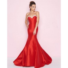 Chic Mermaid Sweetheart Red Taffeta Beaded Evening Prom Dress