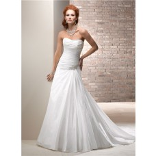 Civil Simple A Line Strapless Taffeta Wedding Dress With Crystal Corset Back