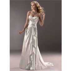 Civil Slim A Line Sweetheart Satin Wedding Dress With Ruching Ruffles