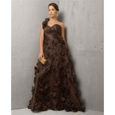Classic A Line One Shoulder Long Chocolate Brown Tulle Evening Dress With Flowers