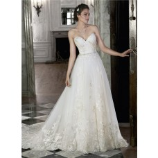 Classic A Line Strapless Low Back Lace Applique Wedding Dress With Crystals Belt