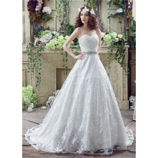 Classic Ball Gown Strapless Corset Back Lace Wedding Dress With Crystals Sash