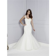 Classic Fit And Flare Mermaid Criss-Cross Straps Tulle Lace Beaded Wedding Dress