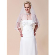 Classic Simple White Tulle Wedding Bridal Veil With Ribbon Edge