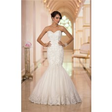 Classic Trumpet Mermaid Sweetheart Tulle Lace Beaded Corset Wedding Dress