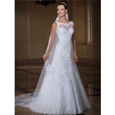 Classy A Line Bateau Neckline Sleeveless Lace Glitter Wedding Dress With Buttons