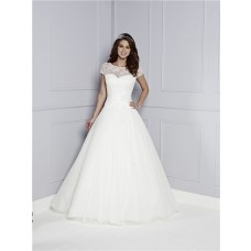 Classy A Line See Through Back Short Sleeve Tulle Lace Wedding Dress Flower Sash Buttons