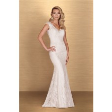 Classy Mermaid V Neck Cap Sleeve Vintage Lace Wedding Dress