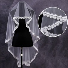 Classy One Tier Tulle Venice Lace Waltz Length Wedding Bride Veil