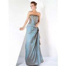 Classy Sheath Strapless Long Taffeta Beaded Women Evening Wear Dress