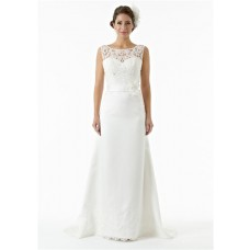 Classy Sheer Bateau Neckline Satin Lace Beaded Wedding Dress With Flower Sash