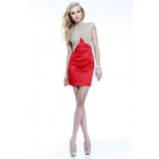 Column High Neck Cap Sleeves Backless Short Mini Red Satin Beaded Cocktail Prom Dress