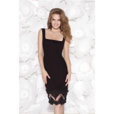Column Square Neck Knee Length Black Satin Lace Evening Occasion Dress
