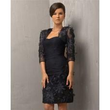 Column Strapless Short Brown Lace Evening Dress With Bolero Jacket