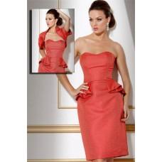 Column Strapless Short Peplum Fitted Cocktail Evening Dress With Bolero Jacket