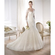 Couture Mermaid Illusion Neckline Sheer Back Long Sleeve Lace Wedding Dress