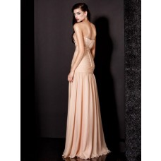 Couture Mermaid Sweetheart Long Peach Chiffon Evening Wear Dress With Slit