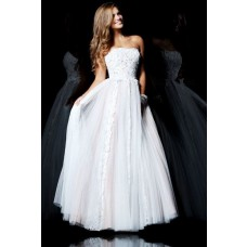 Cute A Line Princess Strapless Long White Tulle Lace Evening Prom Dress