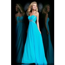 Cute A Line Sweetheart Long Turquoise Chiffon Beaded Evening Prom Dress