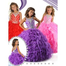 Cute Ball Lavender Purple Organza Ruffle Beaded Girls Pageant Party Prom Dress