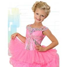 Cute Ball Short Pink Organza Layered Tutu Girl Pageant Prom Dress With Rhinestones