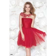 Cute Illusion Neckline Cap Sleeve Short Red Tulle Beaded Prom Dress