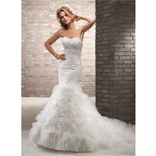 Cute Mermaid Lace Sparkles Tulle Floral Wedding Dress With Detachable One Strap