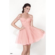 Cute Off The Shoulder Mini Blush Pink Tulle Lace Party Prom Dress