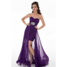 Cute Sheath Strapless Long Purple Chiffon Homecoming Prom Dress With Beading