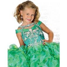 Cute Short Green Organza Ruffle Beaded Tutu Girl Pageant Dress