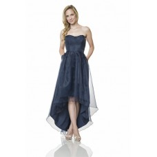 Cute Strapless Sweetheart High Low Navy Blue Organza Party Bridesmaid Dress