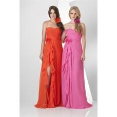 Cute Strapless Sweetheart Long Orange Chiffon Ruffle Party Bridesmaid Dress With Slit Flowers