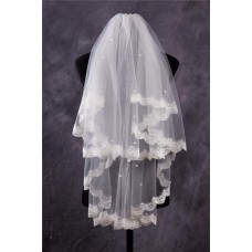 Cute Tiers Tulle Lace Pearls Fingertip Length Wedding Bride Veil