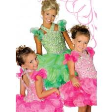 Cute Tutu Short Green Organza Ruffle Beaded Girl Pageant Prom Dress